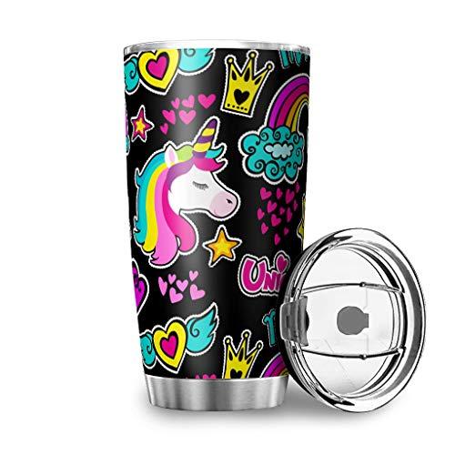 Bannanabut Vaso de viaje de unicornio de doble pared aislado al vacío vaso de viaje con tapa de 20 onzas, botella de agua para mujeres y hombres, color blanco 20 onzas