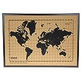Mapa mundi de corcho pared marco madera - Mapa del mundo para marcar viajes - Tablero...