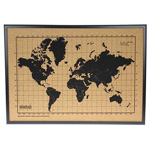 Mapa mundi de corcho pared marco madera - Mapa del mundo para marcar viajes - Tablero de corcho - Regalos originales para viajeros - Diseñado y fabricado en España por Milimetrado, Negro: 50 x 70 cm