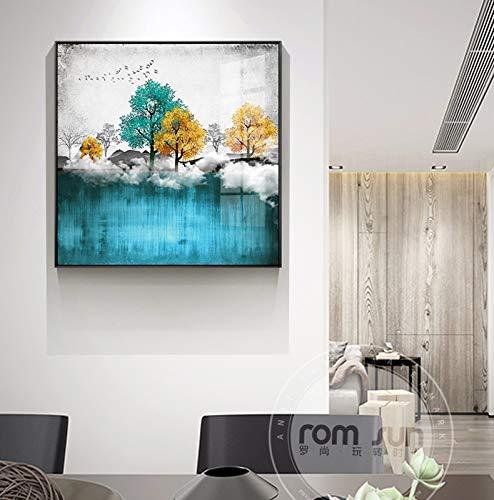 yaoxingfu Sala de Estar sin Marco Dormitorio Aceite nórdico ng Paisaje Forestal Abstracto Lienzo Nube mar póster e impresión Imagen de Arte de Pared de Ciervos 40x60cm