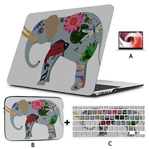 MacBook Air 13 Inch Case 2020 2019 2018, Drawing Stylized Elephant Decorated Dragonfly Lotos Plastic Hard Shell,Sleeve Bag,Keyboard Cover,Screen Protector Compatible with MacBook Pro 13 Inch USB-c