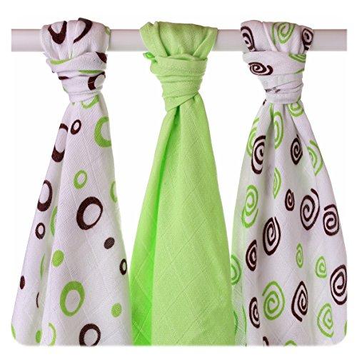 XKKO BMB070024A 3-pack bamboe luiers om te wikkelen, bij borstvoeding te geven, als onderlaag of lichte deken, luiers 70 x 70 cm, meerkleurig