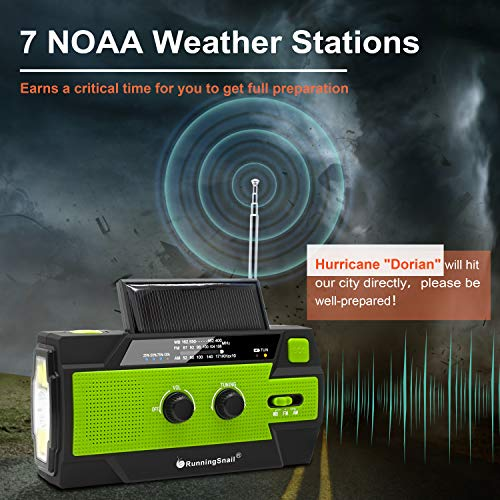 Product Image 7: 【2020 Newest】RunningSnail Emergency Crank Radio,4000mAh-Solar Hand Crank Portable AM/FM/NOAA Weather Radio with 1W Flashlight&Motion Sensor Reading Lamp,Cell Phone Charger, SOS for Home and Emergency