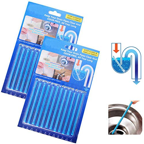 12 Stück Abflussreiniger Drain Cleaner Sticks, Feelairy Rohrreiniger Abflussreiniger Stäbchen, Rohrreiniger Enzymreiniger für Verstopfte Rohre in Küche, Bad und Dusche Drain Cleaner