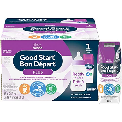 NESTLÉ GOOD START PLUS 1 Baby Formula, Ready-to-Feed, 0+ months, 250 ml, 16 Pack - PACKAGING MAY VARY