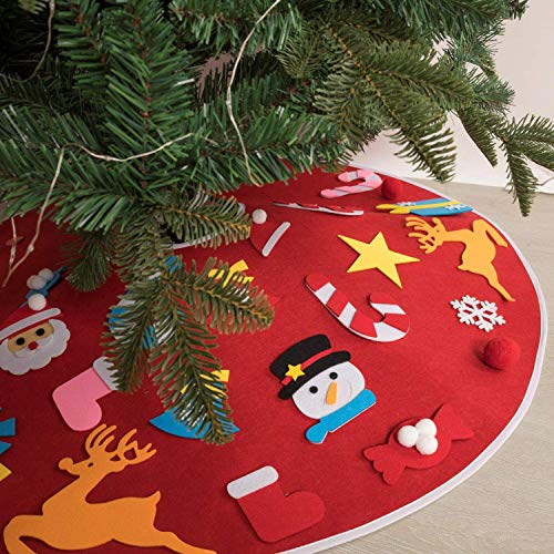 WLHER 36 Inches Christmas Tree Skirt, DIY Felt Xmas Tree Skirt Kits, with 26Pcs Detachable Ornaments Xmas Decorations Gift for Kids,Red