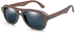 Polarized Male and Female Pilots Classic Color Film Sunglasses Bamboo Glasses (Color : Gray, Size : Free)