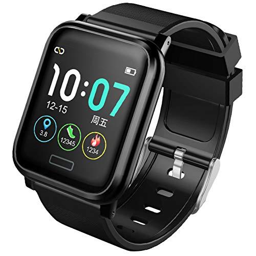 RNNTK Pulsera Inteligente Smartwatch Fitness Tracker, Tomar Prueba De Frecuencia Cardíaca El Fitness Tracker,para Hombres Y Mujeres Padres Amante Calorías Podómetro Smartwatch Fitne-Negro