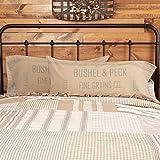 VHC Brands Grace Pillow Case Set King Size Cotton Farmhouse Vintage Grain Sack Style Reversible Stripe 21x40 Bedding Accessory, Pillowcase, Grey