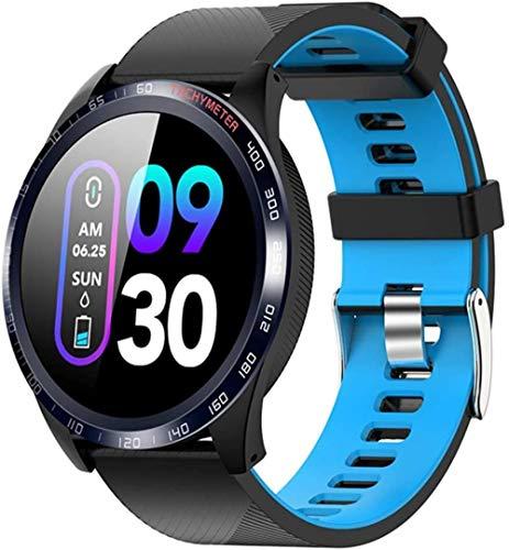 Reloj inteligente impermeable fitness tracker, pulsera deportiva para Los y Android-Negro Azul