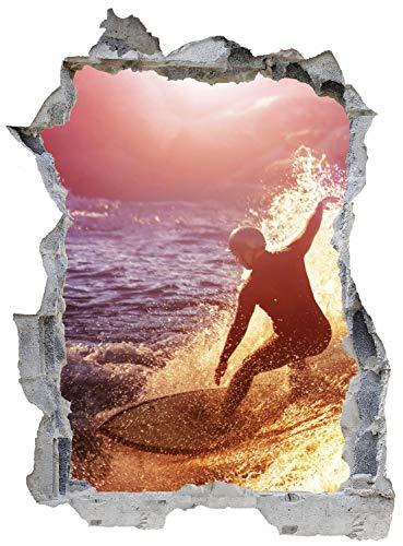 Surfer Meer Welle Wasser Wandtattoo Wandsticker Wandaufkleber E0568 Größe 67 cm x 90 cm