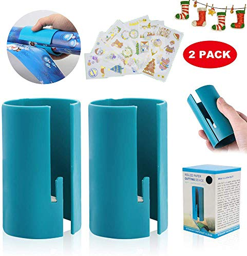 Wrapping Paper Cutter 2 Pcs Paper Cutters Festival Kraft Craft Paper Cutter Roll Sliding Line Cut Trimmer for Christmas Birthday, Easy Quick, Creative Sliding Paper Roll Cutter