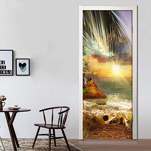 Adesivi Per Porte In 3D Crepuscolo Isola Spiaggia Vista Sul Mare Libreria Cameretta Decorazione Home Wall Arte Murale Decalcomanie Soggiorno Ristorante Hotel Café Office Décor Rimovibile 77 * 200Cm