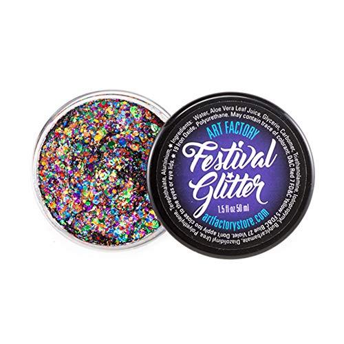 Art Factory Festival Glitter - orgullo del arco iris (50 ml / 1 onzas líquidas), cosmética del gel del brillo