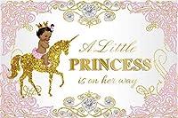 新しい7x5ftリトルプリンセスベビーシャワーシルバーダイヤモンドフォトスタジオブースの背景写真のユニコーンロイヤルセレブレーションピンクの背景バナーにアフリカの黒人少女
