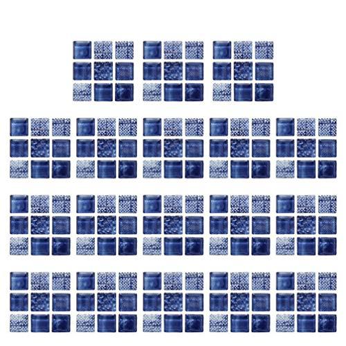 Clispeed 18pcs Mosaic Tile Sticker 3D Wall Decals Backsplash Self Adhesive Splice Design Pasters for Kitchen Bathrooom Dark Blue