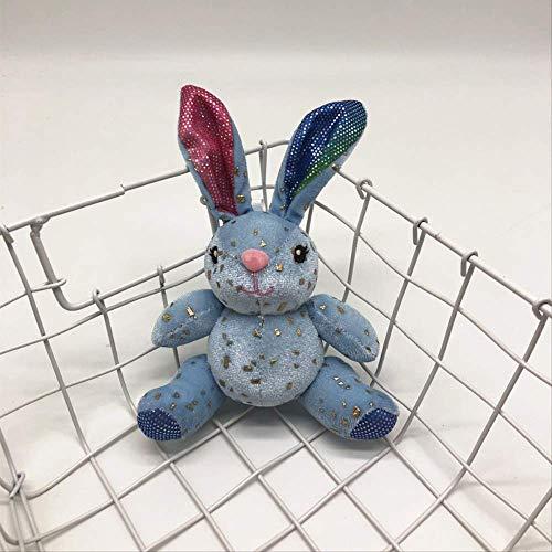 DOUFUZZ SNHPP Milch Zucker Kaninchen Plüsch Spielzeug Schlüsselanhänger Hase Anhänger Rucksack hängen Kinder Geschenk 10cm Blau