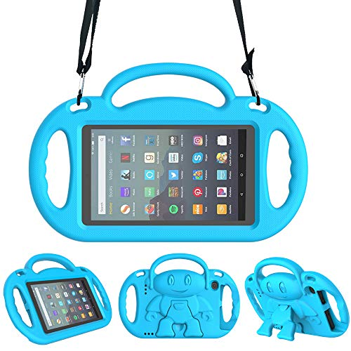 Surom Kids Case for All New Amazon Fire 7 2019/2017, Light Weight Shock Proof Friendly Handle Kids Stand with Shoulder Strap for Fire 7 Tablet (9th & 7th Generation, 2019 & 2017 Release), Blue