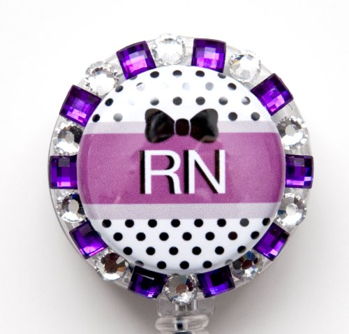 BLACK BOW AND PURPLE STONES RN LOGO Nurse Rhinestone Retractable Badge Reel/ ID Badge Holder