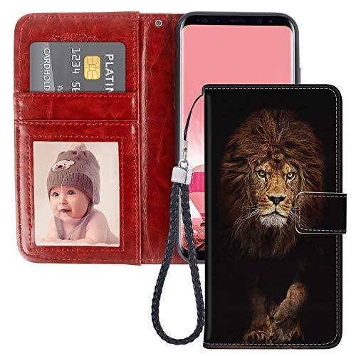 xtlxr - Custodia a portafoglio per Samsung Galaxy S7 Edge, con motivo Re Leone in pelle PU, per donne