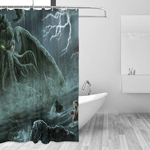Ruihong Cthulhu Monster Duschvorhang, 60 x 72 cm, 100prozent Polyester 72 * 72 weiß 2