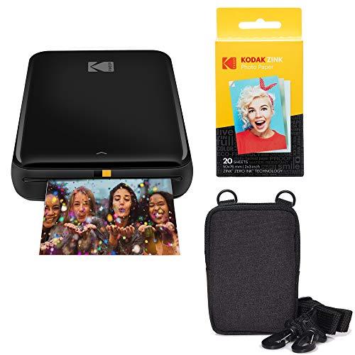 kodak wireless portable printers KODAK Step Wireless Mobile Photo Mini Printer (Black) Go Bundle