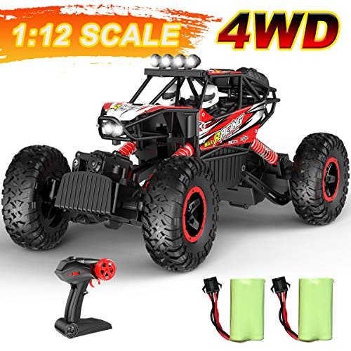 Hot Bee RC Cars 1:12 Remote Control Car for Boys,2.4Ghz 4WD Off Road Monster Truck W/Six LED Lights,Two Rechargable Batteries, All Terrain Climbing Racing Car Toys Ideal Gifts for Kids & Adults