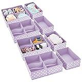 mDesign Juego de 8 Cajas de almacenaje para Cuarto Infantil y Ropa de bebé – Cesta organizadora Plegable en 2 tamaños – Organizador de armarios de Fibra sintética Transpirable – Lila/Lunares Blancos