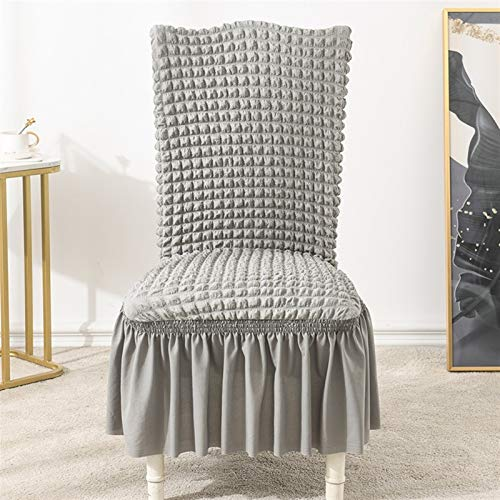Zxxin-Stuhlhussen Bubble Stretch Chair Cover, für Hochzeitsbankettparty, mit Rock Elastic Slipcovers Dinning Chair Covers, hohe Qualität (Color : Light Grey, Specification : Universal Size)