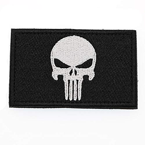 Cobra Tactical Solutions Punisher Totenkopf White Schwarz Military Besticktes Patch mit Klettverschluss für Airsoft Cosplay Paintball für Taktische Kleidung Rucksack
