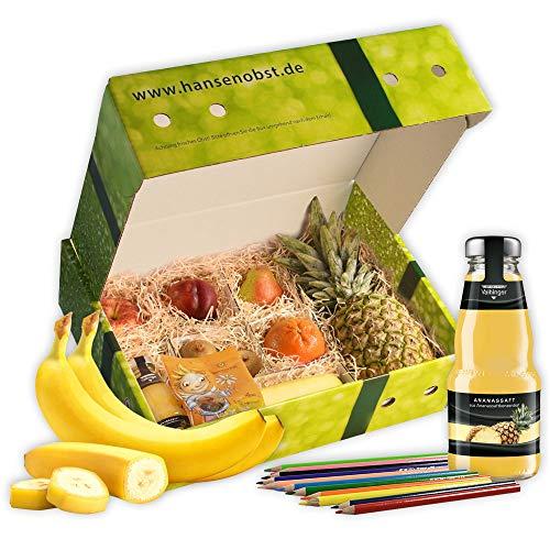 Obstbox Happy Kids mit frischem Obst, Stiften und Malvorlage für Kinder in klassischer Geschenkbox als Kindergeschenk