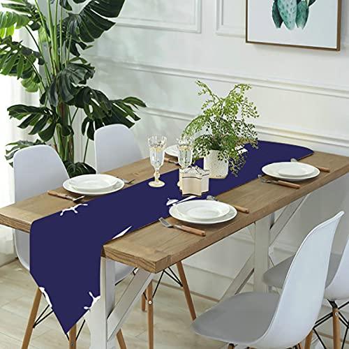 Reebos Camino de mesa de lino para aparador, camino de mesa de cocina, color azul índigo náutico para cenas de granja, fiestas de vacaciones, bodas, eventos, decoración, 33 x 70 pulgadas