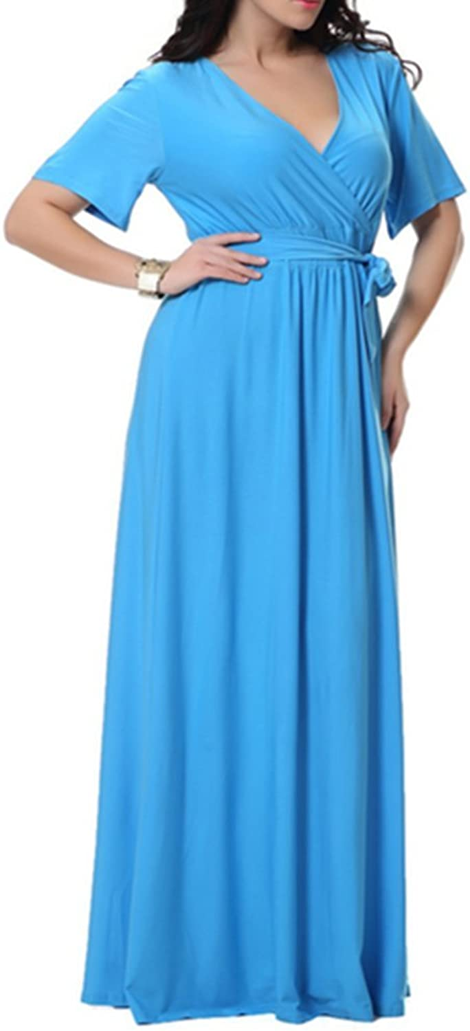 Emmani Women's V Licensed Sleeve Long Big Size Ball Party Dresses