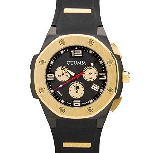 Otumm Speed Unisex Uhr 45mm Chronograph mit Schwarz Silikon Armband