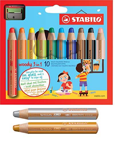 Buntstift, Wasserfarbe & Wachsmalkreide - STABILO woody 3 in 1 | 10+2 Pack mit Spitzer - mit 10 verschiedene Farben + gold und silber