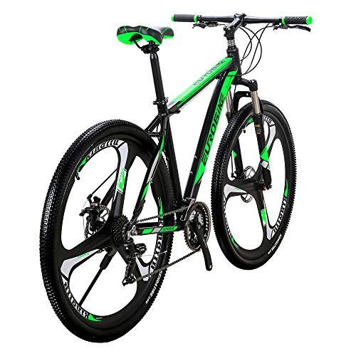 Eurobike Aluminum Frame X9 Mountain Bike 29 Inch 3 Spoke Wheels 21 Speed Bicycle Blackgreen