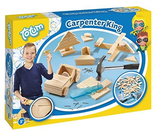 Totum TO025042 Hammerspiel Carpenter King- Zimmermann-Set: mit Holzteilchen, Nägel und Holzhammer