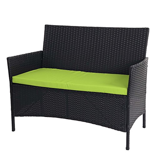 Mendler Serie Halden per l'esterno Divano Sofa 2 posti polyrattan Antracite con Cuscino Verde