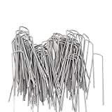 AAGUT 6inch OuYi Garden Staples Galvanized Landscape Sod Stakes, 100 Pack 6 Inch 11 Gauge Rust Resistant Steel Lawn U Pins Pegs-Securing Ground Cover, 100x, Silver