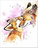 7Dots Art. Mom and Baby. Watercolor Art Print, Poster 8'x10' on Fine Art Thick Watercolor Paper for Childrens Kids Room, Bedroom, Bathroom. Wall Art Decor with Animals for Boys, Girls. (Foxes)