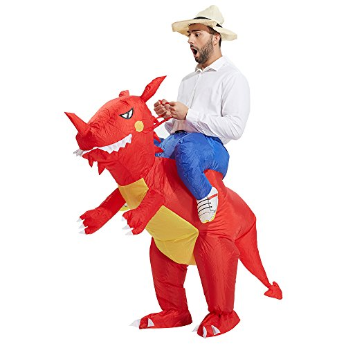 TOLOCO Inflatable Dinosaur T-REX Costume | Inflatable Costumes for Adults| Halloween Costume | Blow Up Costume (Red Dinosaur Adult)