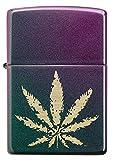 ZIPPO – Cannabis Design - High Polish Indigo – Mechero para tormentas, Recargable, en Caja de Regalo