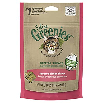 FELINE GREENIES Natural Dental Care Cat Treats Savory Salmon Flavor, 2.5 oz. Pouch