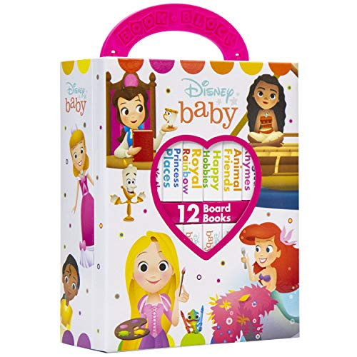 Disney Baby Princess Cinderella, Belle, Ariel, and More! - My First Library Board Book Block 12 Book Set - First Words, Colors, Numbers, and More! - PI Kids