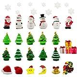 Iceyyyy 37 Pcs Mini Resin Christmas Ornaments - Mini Christmas Theme Resin Miniature Pendant Decoration DIY Kit(Pattern at Random)