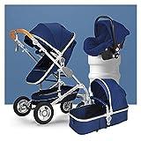 Cilla y capazo bebe,plegable Carrito de bebé Cochecito de bebé 3 en 1 Carruaje de moda, cochecitos y sillas de nacimiento del nacimiento, cochecito de lujo plegable anti-shock Springs High View PRAM C