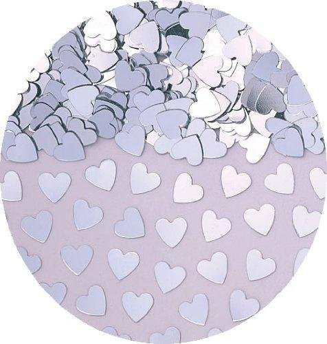 amscan International Sparkle Hearts Metallic Confetti, Silver