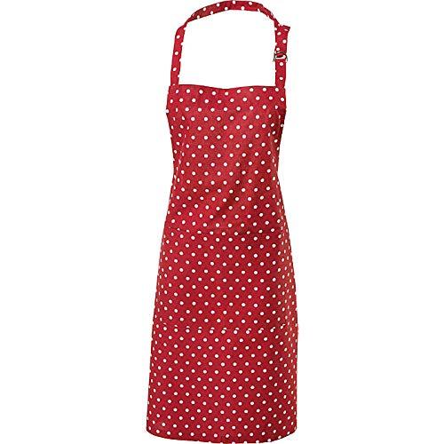 REDBEST Schürze Punkte, 100% Baumwolle rot Größe 75x90 cm - verstellbare Halsschlaufe, große aufgesetzte Tasche, Robustes, glattes Gewebe (weitere Farben)