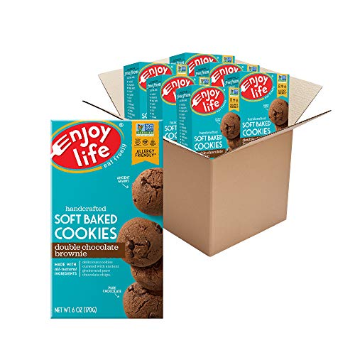 Enjoy Life Double Chocolate Brownie Soft Baked Cookies, Soy Free, Dairy Free, Non GMO, Gluten Free, Vegan, Nut Free Cookies, 6 Boxes