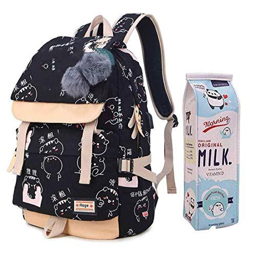 Damen Mode Schultasche Kawaii Druck Rucksack Mädchen Lässig Wasserdicht Backpack Schule Teenager Daypack Männliche und Weibliche chüler Nylons